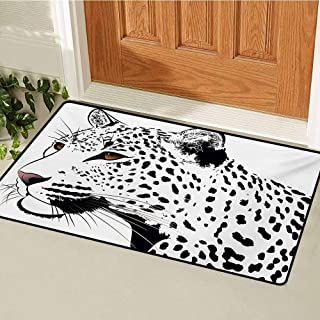 GUUVOR Tattoo Universal Door mat Astonishing Big Cat Famous Symbol of The Courage Leopard Head with Spots Print Door mat Floor Decoration W31.5 x L47.2 Inch White and Black