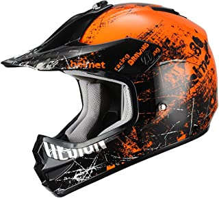Triangle Motorcycle Helmets Youth Off Road Sport ATV Motocross Dirt Bike [DOT] Orange (Small)