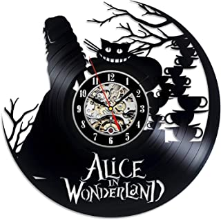 Alice in Wonderland Design Vinyl Record Wall Clock - Get Unique Home Wall Decor - Gift Ideas for Youth and Teens - Original Modern Fan Art