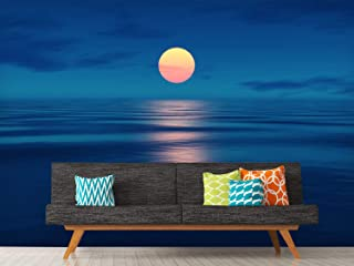 wall26 - an Image of a Beautiful Sunset Over The Ocean - Removable Wall Mural | Self-Adhesive Large Wallpaper - 100x144 inches