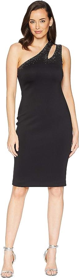 One Shoulder Embellished Sheath Dress