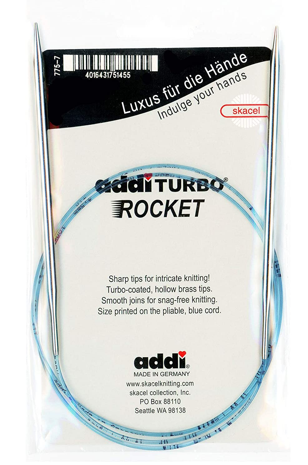 addi Knitting Needle Circular Turbo Rocket Lace Skacel Exclusive Blue Cord 40 inch (100cm) Size US 08 (5.0mm)