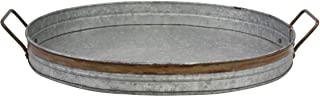 Stonebriar Oval Galvanized Metal Serving Tray with Rust Trim and Metal Handle, Metal, Galvanized Metal, Large