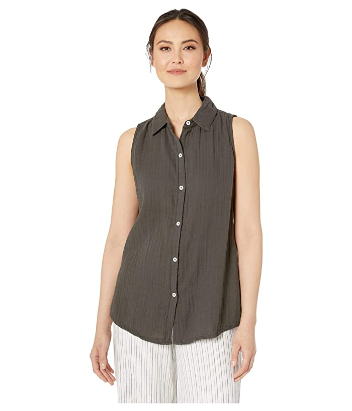 Dylan by True Grit Soft and Light Double Gauze Sleeveless Shirt with Button Back (Carbon) Women
