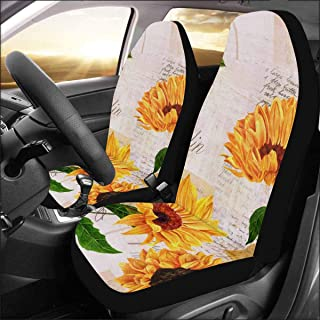 INTERESTPRINT Universal Fit Custom Sunflower Protector Two Front Car Seat Covers Set -100% Breathable