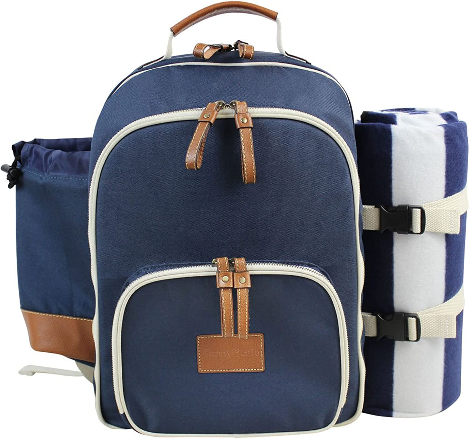 INNO STAGE Insulated Picnic Backpack for 4 Persons with Full Stainless Cutlery Set, Roomy Cooler Compartment, Bottle Holder and Large Waterproof Mat (Navy blueee)