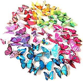 HIOJDWA 3D Colorful Butterfly Wall Stickers Wall Decor 72 Pcs Removable Funny Magnets Glue Sticker, DIY Art Decor Crafts for Living Room Bedroom Decor Set (6 Colors)