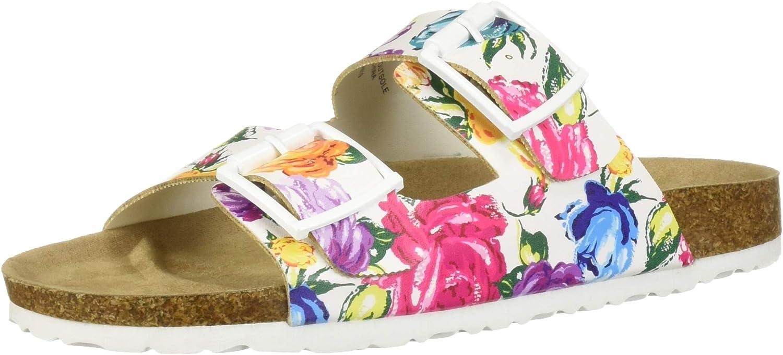 UNIONBAY Women's Melissa Buckled Two Strap Slip-On Flat Slide Sandal (7.5 M US, White Floral)