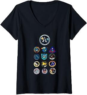 Femme Les patchs de mission Apollo T-Shirt avec Col en V