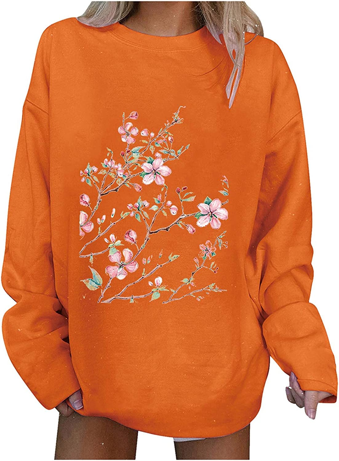 Auwer Women's Floral Printed Long Sleeve Sweatshirt Round Neck Loose T Shirts