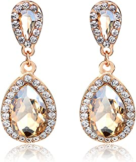 Kredy Women Rhinestone-Studded Teardrop Studs Artificial Crystal with Bling Stone Fashion Drop Earring Jewelry