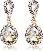 Kredy Women Rhinestone-Studded Teardrop Studs Artificial Crystal with Bling Stone Fashion Drop Earring Jewelry