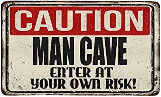 InterestPrint Funny Rusty Metal Sign Caution Man Cave Enter at Your Own Risk Doormat Indoor Outdoor Entrance Rug Floor Mat...