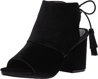 Women's Reach The Stars Peep Toe Bootie, Flared Heel Ankle Lacing Tassel Detail-Velvet