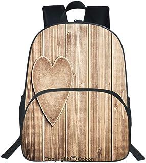 Oobon Kids Toddler School Waterproof 3D Cartoon Backpack, Rustic Heart over Wooden Planks Background Lovers Corner Romantic Celebration Print Decorative, Fits 14 Inch Laptop