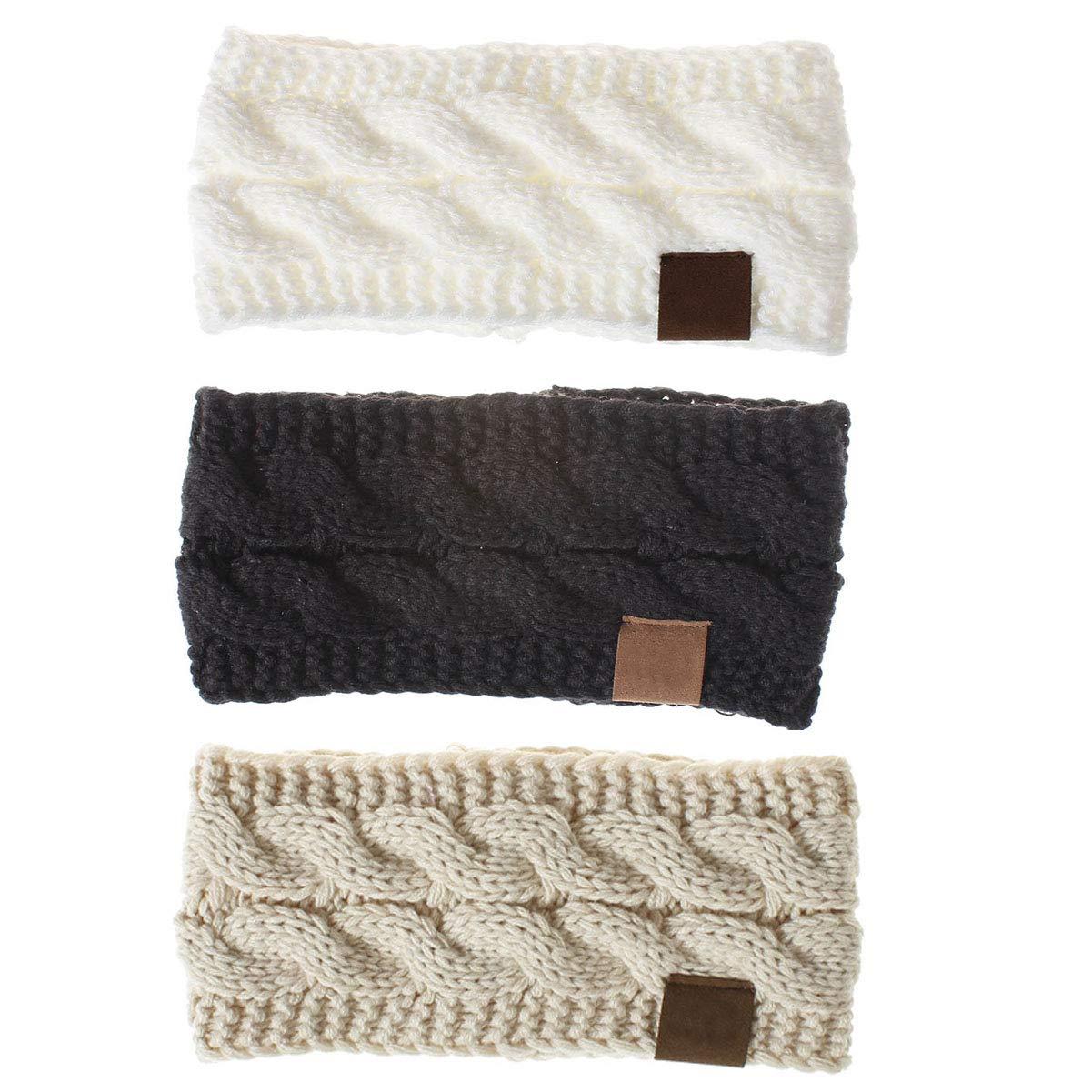 3 Pcs Woman Soft Stretch Ear Warmers Headbands Crochet Cable Knit Head Wraps Autumn and Winter Keep Warm Headband Hair Band (C#)