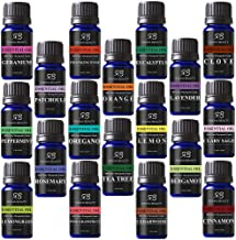 Radha Beauty Aromatherapy 18 Essential Oils (Lavender, Tea Tree, Peppermint, Lemongrass, Orange, Eucalyptus, Rosemary, Frankincense, Lemon, Bergamot, Cedarwood, Patchouli, Geranium, and more)