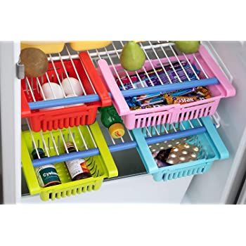 Peiroks 4 Pcs Expandable Adjustable Fridge Storage Basket Under Shelf Fridge Organiser Rack Space Saver Refrigerator Sliding Drawers - Unbreakable, Random Colours (Multicolor)