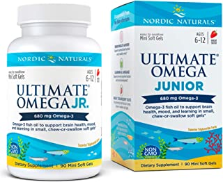 Sponsored Ad - Nordic Naturals Ultimate Omega Jr, Strawberry - 90 Mini Soft Gels - 680 Total Omega-3s with EPA & DHA - Bra...