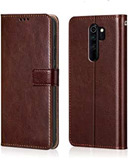 WOW Imagine Redmi Note 8 Pro Flip Case | Premium Leather Finish | Inside TPU with Card Pockets | Wallet Stand | Shock Proof | Magnetic Closure | 360 Degree Complete Protection Flip Cover for Xiaomi Redmi Note 8 Pro - Chesnut Brown
