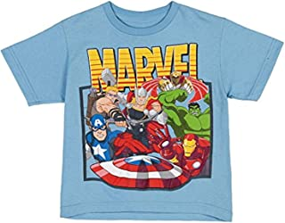 Marvel Comics Avengers Cluster Little Boys Juvy T-Shirt - Light Blue