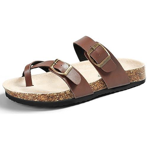 ec2a17bfad1446 SANDALUP Soft Ring Toe Flip Flop Flat Cork Sandals for Women