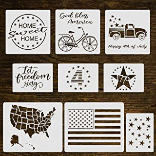 9Pcs Happy 4th of July Reusable Stencil Assorted Size-Patriotic Stencil Include American Flag/Stars/Map/1776/Let Freedom Ring/Bicycle/Truck Farmhouse Stencil for Painting on Wood/Fabric/Paper