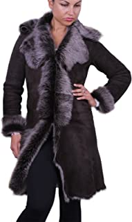 Brandslock Womens Duffle Toscana Genuine Shearling Sheepskin Leather Coat