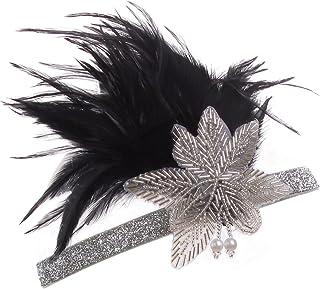 Vijiv Vintage Black Silver 20s Headpiece Flapper Headband 1920s Great Gatsby