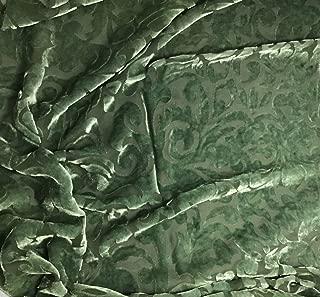 Moss Green Scroll - Hand Dyed Burnout Silk Velvet Fabric