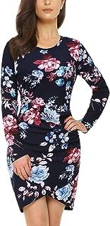 Mixfeer Womens Floral Print Long Sleeve Dress Irregular Hem Ruched Mini Party Dress Tulip Bodycon Dress