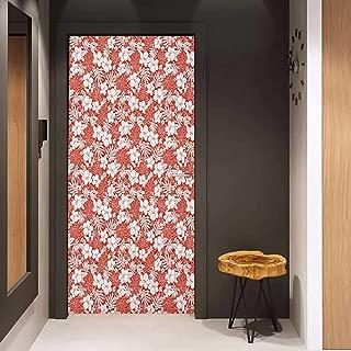 Pantry Sticker for Door Luau Hawaiian Hibiscus Florets Bouquet Summer Petals Exotic Beauty Wildflowers Print Sticker Removable Door Decal W36 x H79 Orange White