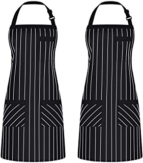 Syntus 2 Pack Adjustable Bib Apron with 3 Pockets Cooking Kitchen Aprons for BBQ Drawing, Women Men Chef, Black/White Pinstripe