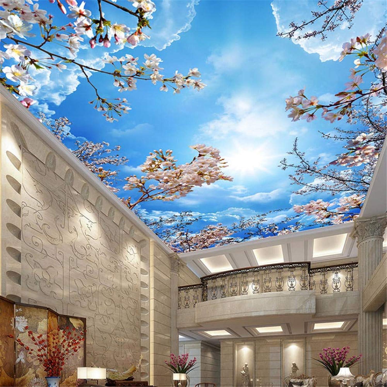 Pbldb Romantische Blaue Himmel Weie Wolken Kirschblüten Fototapete 3D Decke Wandbild Wohnzimmer Thema Hotel Pastoralen Dekor Tapete-280X200Cm
