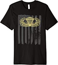 Army Parachute wings badge and US Flag airborne Premium T-Shirt