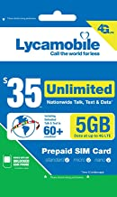 Lycamobile $35 Plan 1st Month Included SIM Card is Triple Cut Unlimited Natl Talk & Text to US and 60+ Countries 6GB Of 4G LTE