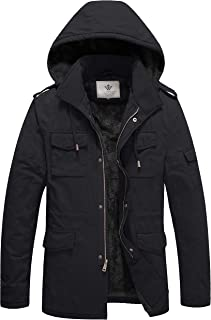 WenVen Men`s Winter Military Thicken Parka Jacket with Removable Hood