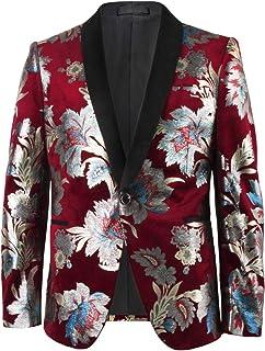Pizoff Mens Luxury Blazer Flower Gilding Regular Fit Velvet Christmas Suit