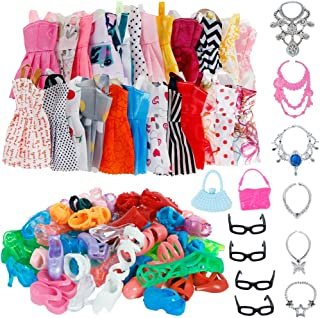 32 Item/Set Doll Accessories=10 Mix Fashion Cute Dress+ 4 Glasses+ 6 Necklaces+2 Handbag+ 10 Shoes Dress Clothes for Barbi...