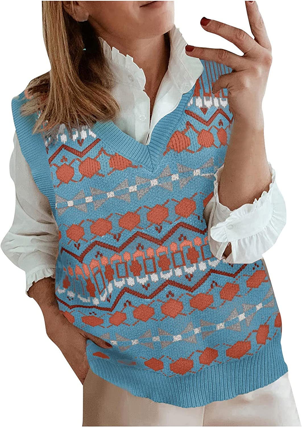 Women's Fashion Knitted Vest Sleeveless V-Neck Ethnic Style Vintage Sweater Knitwear Tank Top
