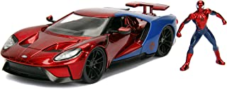 "Jada Toys Marvel 1:24 2017 Ford GT Die-cast Car with 2.75"" Spider-Man Figure, Toys for Kids and Adults, Red/Blue (99725)"