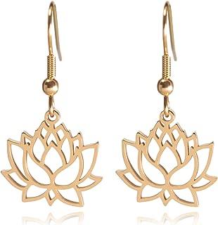 Lotus Flower Stainless Steel Dangle Earrings