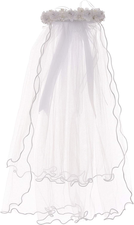 Girls Veil Pearl Holy First Communion White Floral Wreath Veil Headpiece Crown