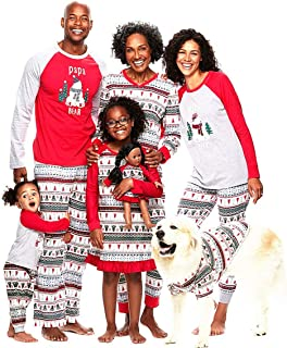 SERAPHY Matching Christmas Pajamas Family Set 2 Pieces Holiday Pjs Matching Couples Kids Baby Warm One Piece Sleepwear