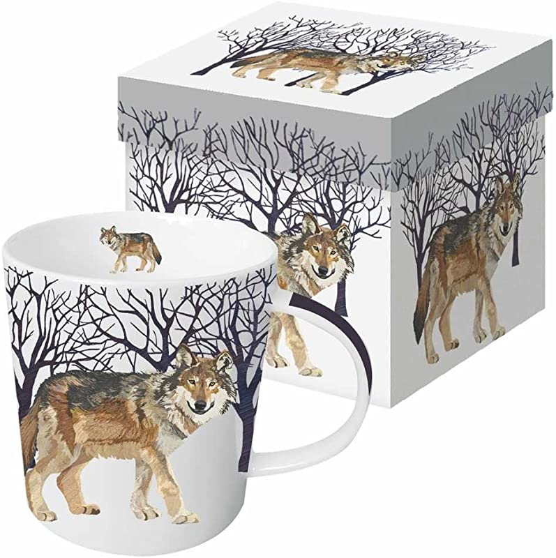 Paperproducts Design 28168 Gift Boxed Porcelain Mug 13 5 Oz Winter Woods Wolf Multicolor