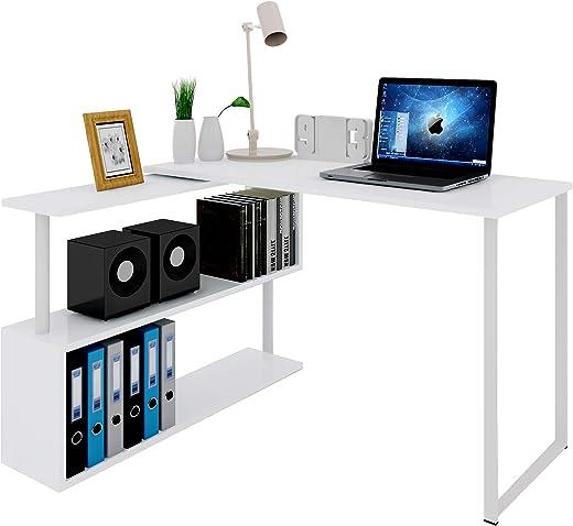WOLTU® Schreibtisch TS65ws Eckschreibtisch Winkelschreibtisch Winkelkombination Computertisch Bürotisch Arbeitstisch PC Laptop Tisch, mit Ablagen,…