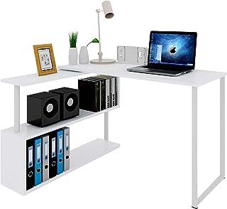 WOLTU Mesa de Ordenador Escritorio Puede Girar el Angulo Mesa de Trabajo PC Mesa Portátil con Estantes 120x100x74cm (WxDxH) MDF Blanco TS65ws