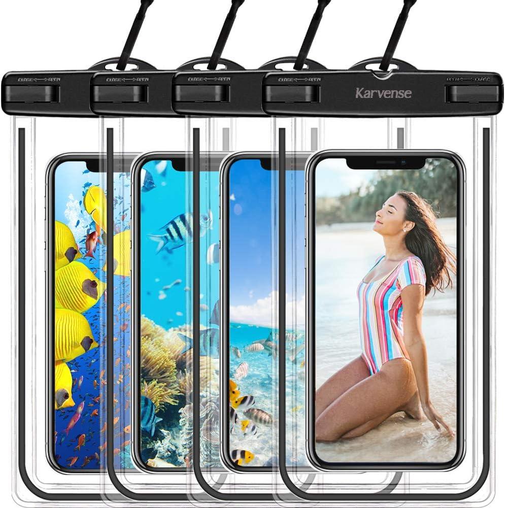 Waterproof Phone Case, Karvense Universal Waterproof Phone Bag/Pouch, Waterproof Cell Phone Holder, Dry Bags, for iPhone, Samsung Galaxy, LG, Moto, Pixel, Xiaomi, Phones up to 6.9''– 4 Pack