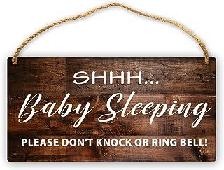 Shh Baby Sleeping Sign- Please Do Not Disturb Baby Sleeping Door Sign Funny 6x12in Hanging Babies Are Sleeping Sign Wood P...