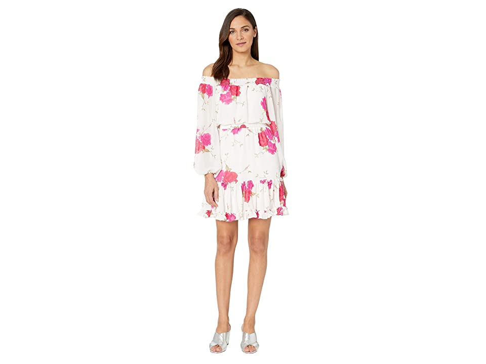 Betsey Johnson Off the Shoulder Floral Dress (White/Pink) Women